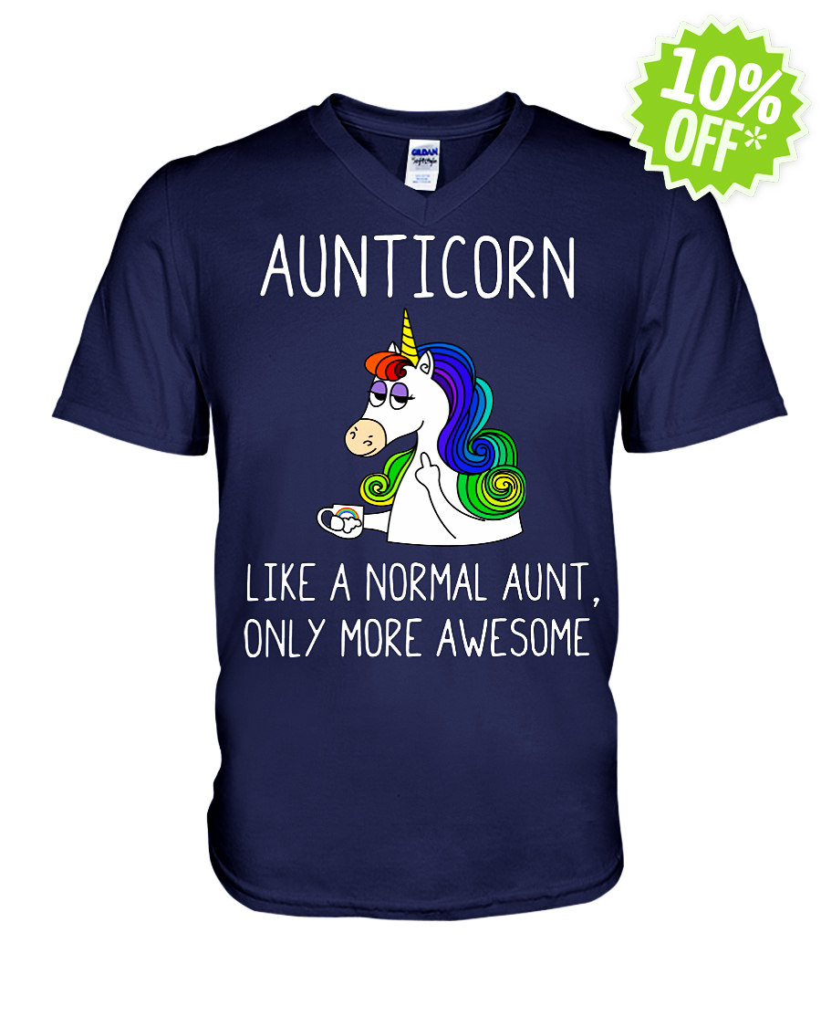 Aunticorn like a normal aunt only more awesome v-neck