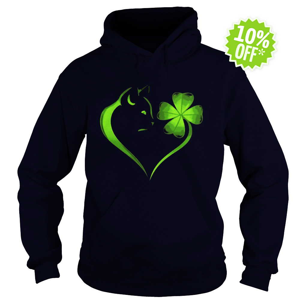 Cat Irish Four leaf clover heart hoodie