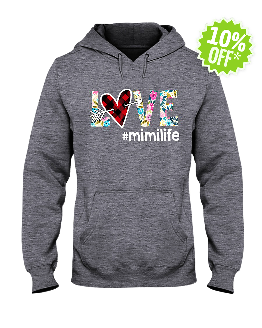 Love hashtag mimilife floral hooded sweatshirt