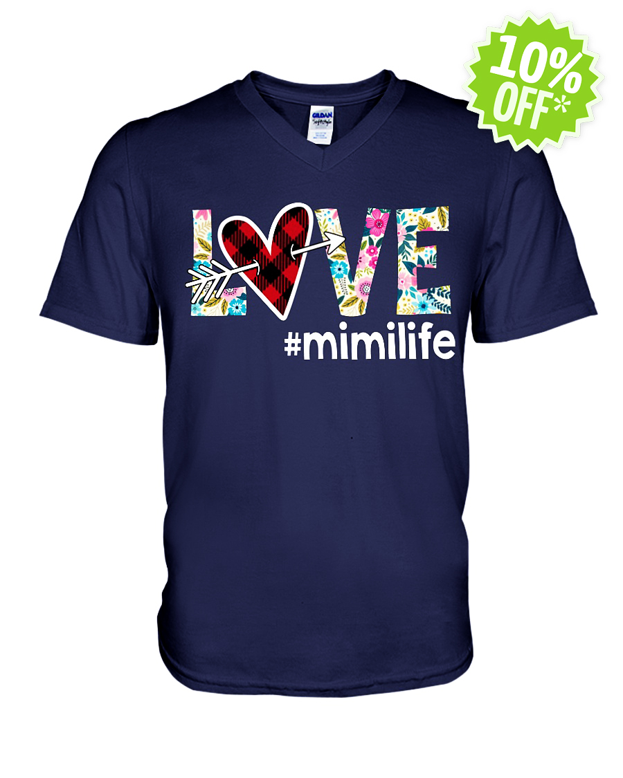 Love hashtag mimilife floral v-neck