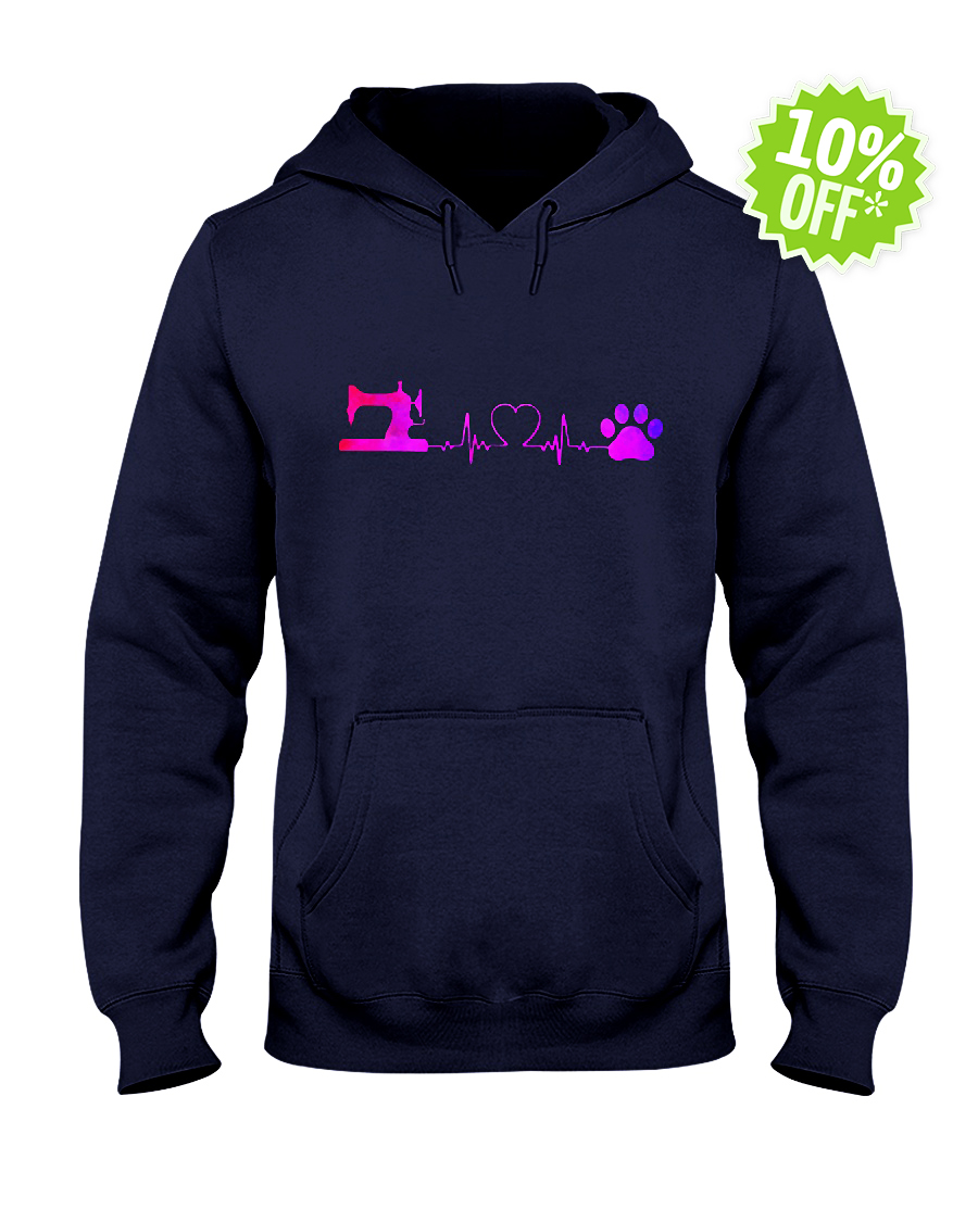 Sewing Machine and Dog Heartbeat hooded sweatshirt