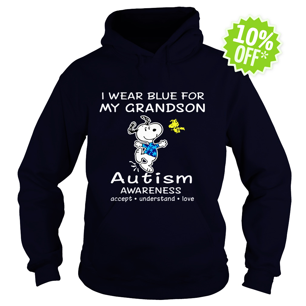 Snoopy and Woodstock I wear blue for my grandson autism awareness hoodie
