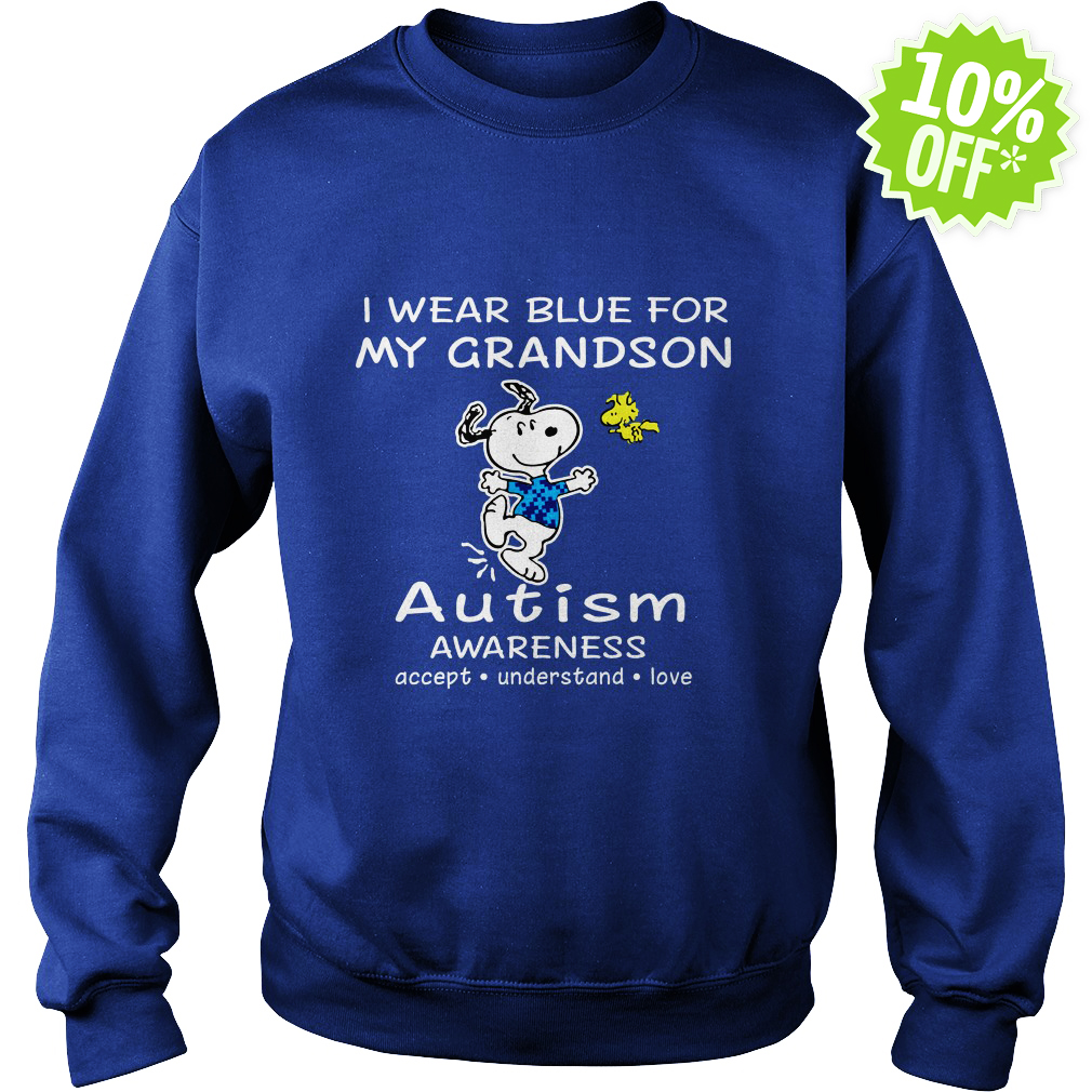 Snoopy and Woodstock I wear blue for my grandson autism awareness sweatshirt