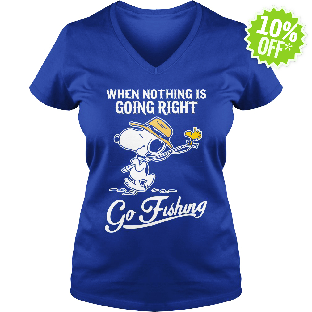 Snoopy when nothing is going right go fishing v-neck