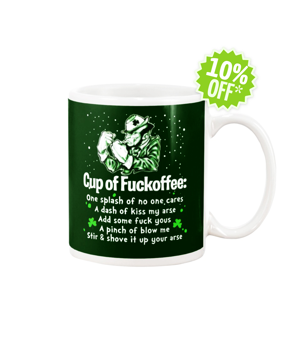 St Patrick's Day cup of fuckoffee forest green mug