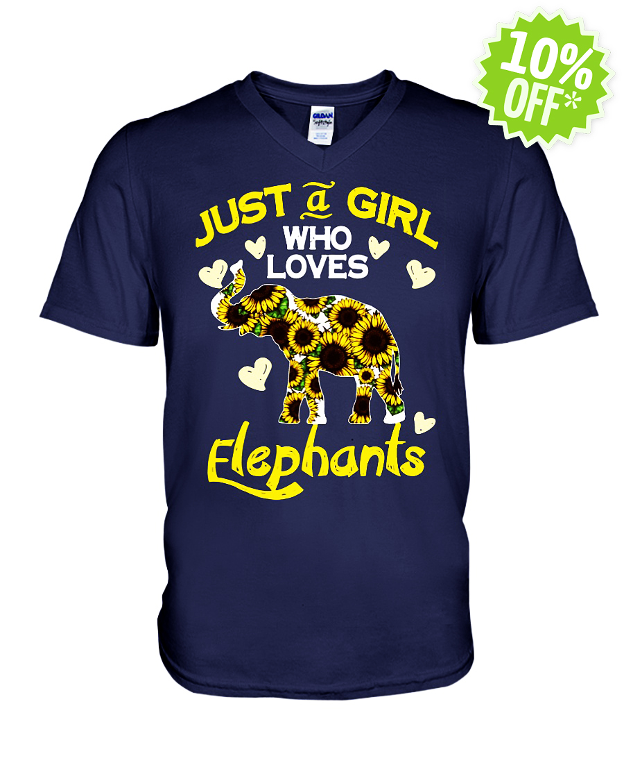 Sunflower just a girl who loves elephants v-neck