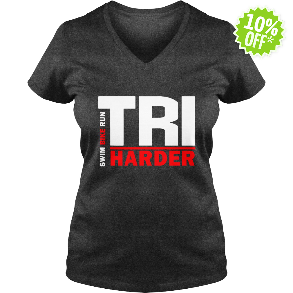 Swim Bike Run Tri Harder v-neck