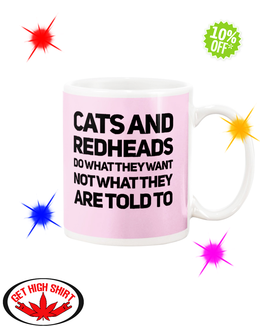 Cats and Redheads do what they want not what they are told to Classic Pink mug