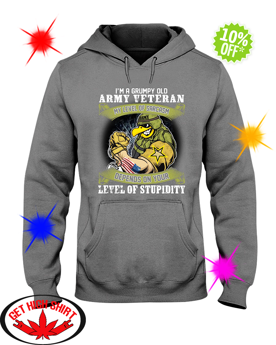 I'm a grumpy old Army Veteran my level of sarcasm hoodie