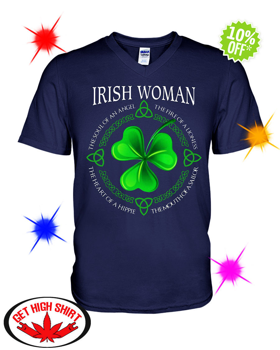 Irish Woman the soul of an Angel the fire of a Lioness v-neck