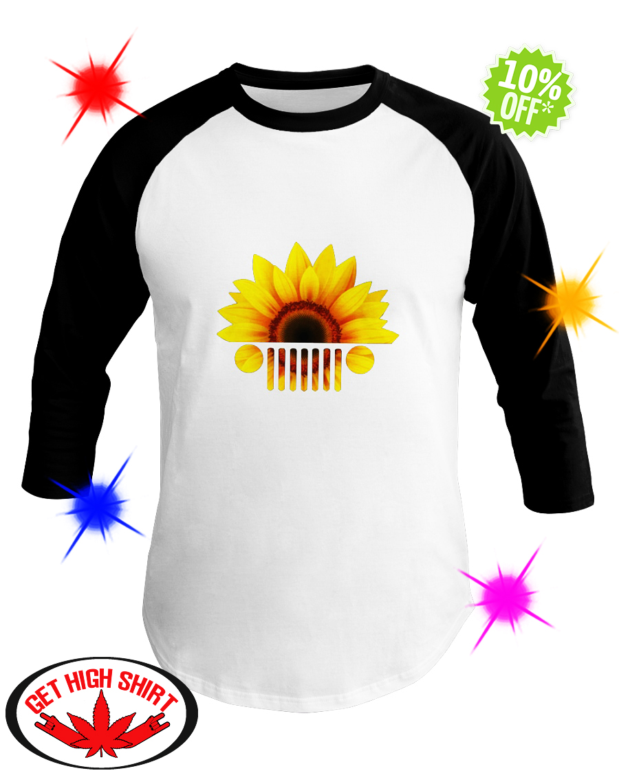 Sunflower jeep car baseball tee