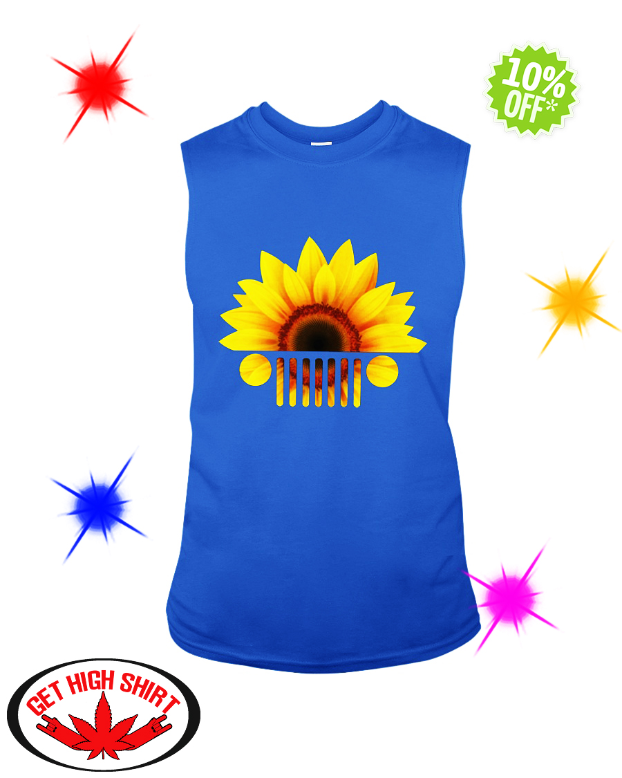 Sunflower jeep car sleeveless tee
