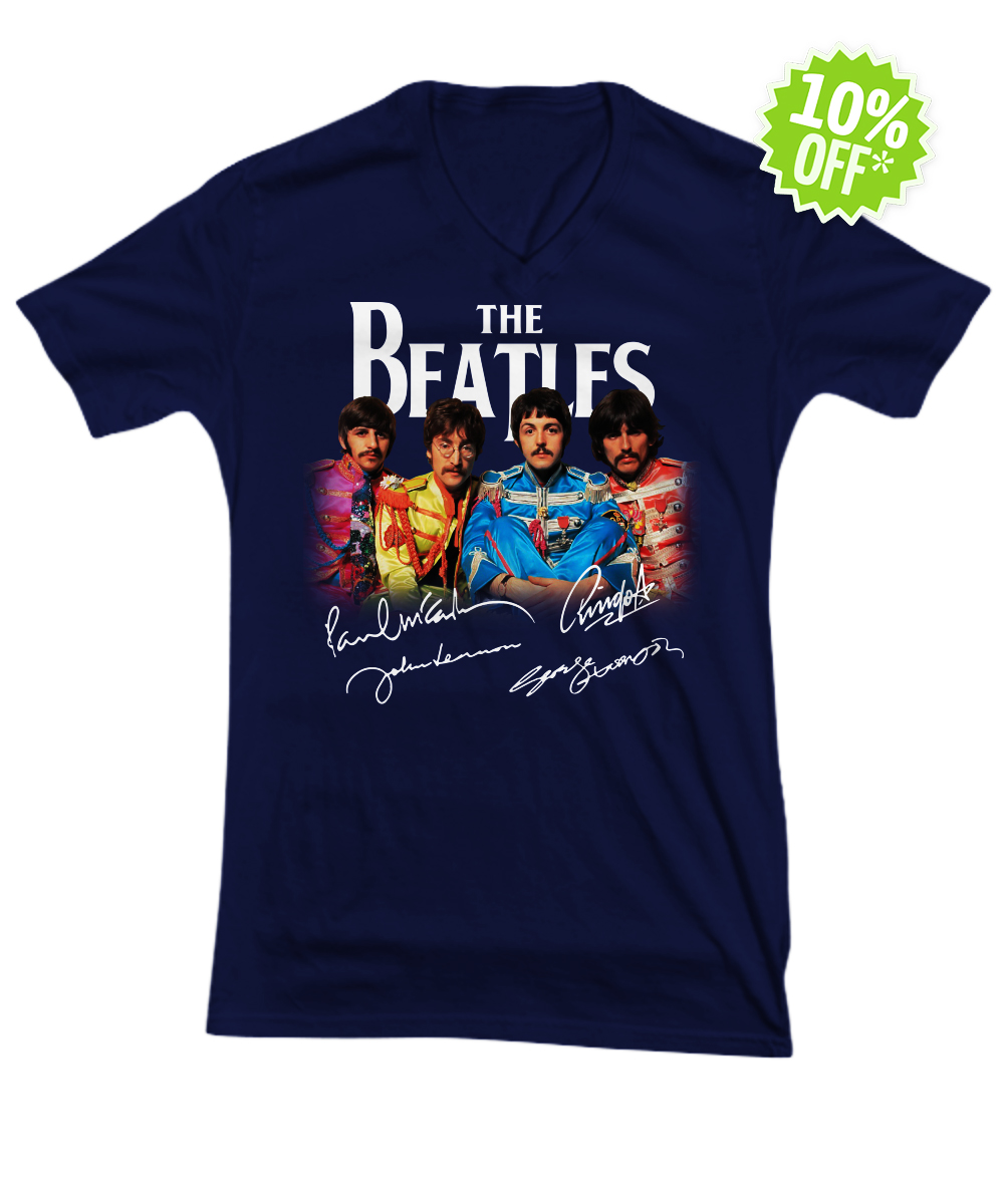The Beatles Sgt. Pepper's Lonely Hearts Club Band signature v-neck