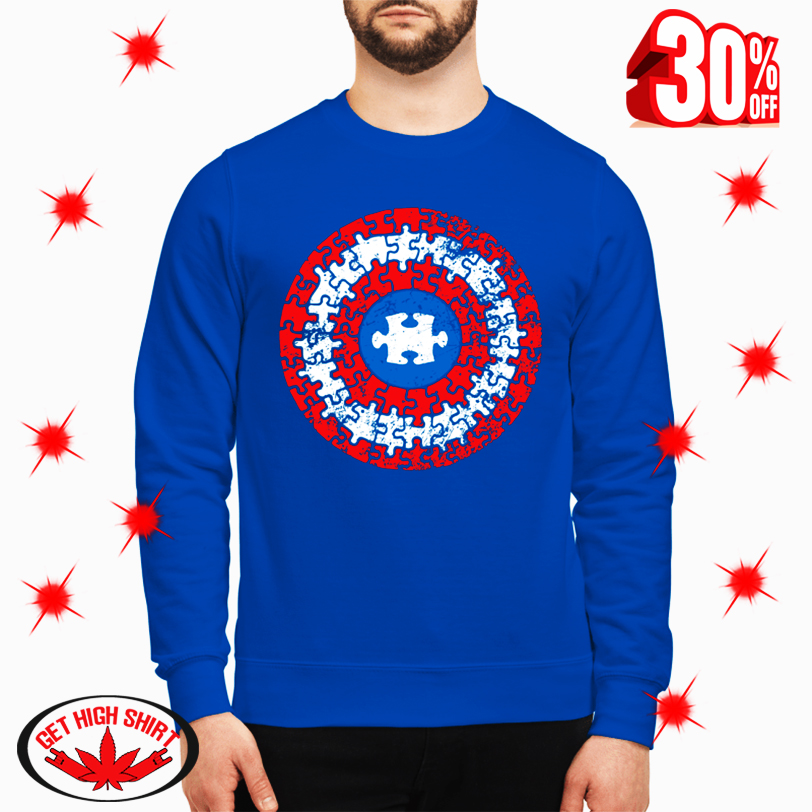 Autism Awareness Puzzle Captain America's Shield Superhero sweatshirt