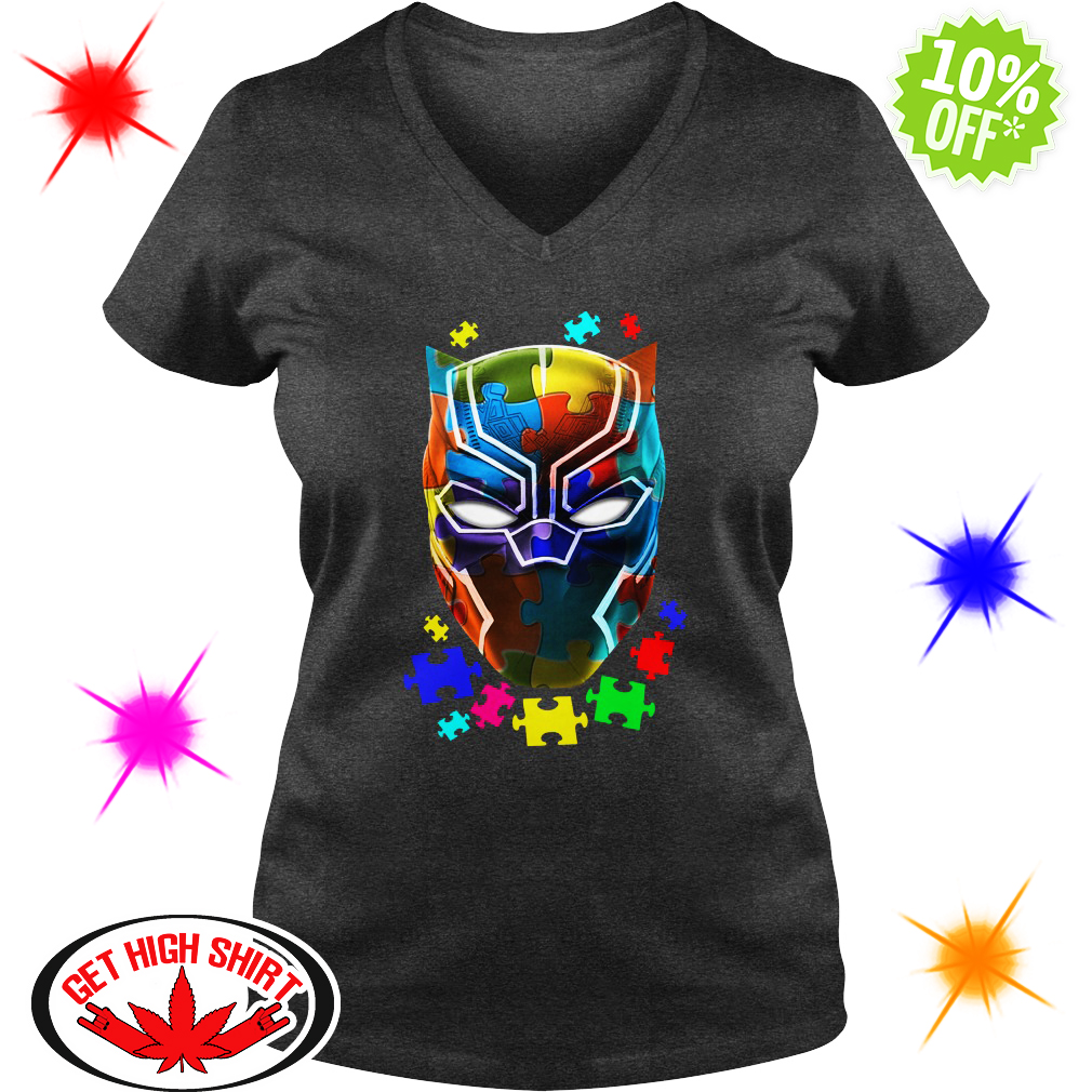 Black panther Autism v-neck