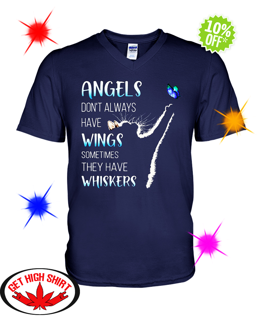 Cat and butterfly Angels don't always have wings sometimes they have whiskers v-neck