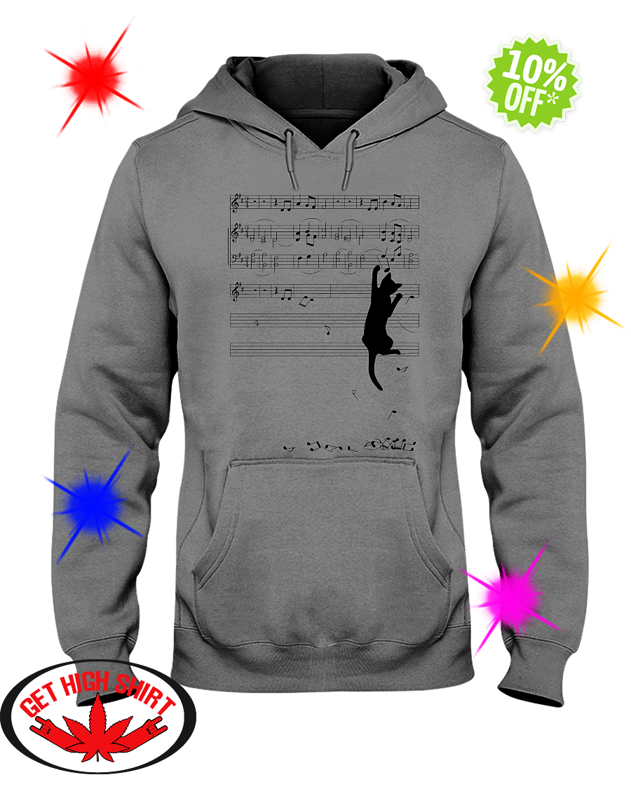 Cat mischief Music Staff hooded sweatshirt