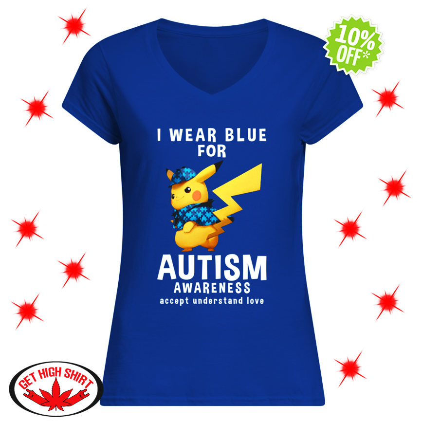 Detective Pikachu I Wear Blue For Autism Awareness Accept Understand Love v-neck