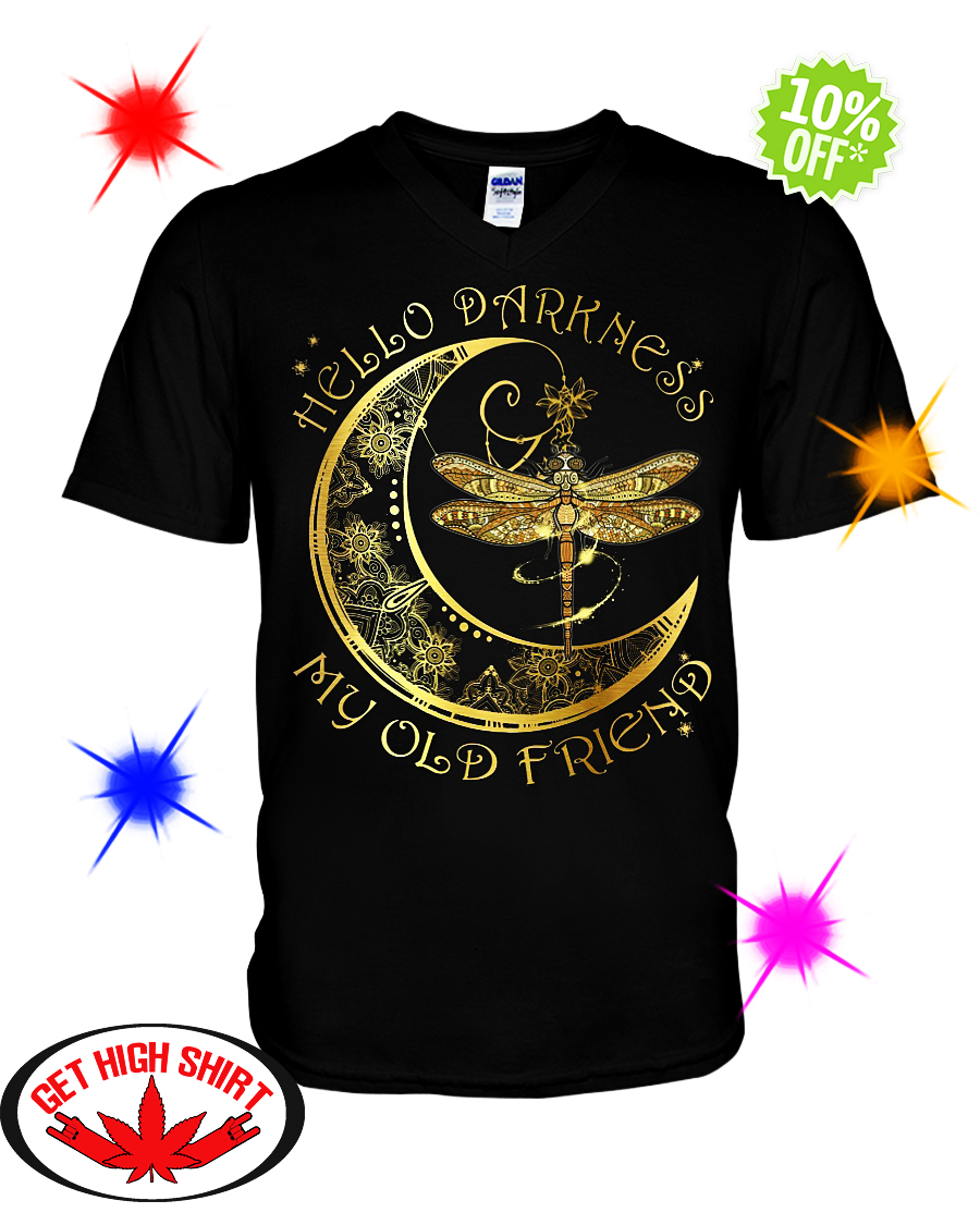 Dragonfly Moon Hello darkness my old friend v-neck