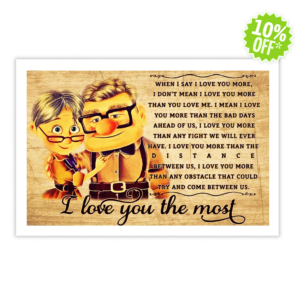 I love you the most Up Disney 24x16 poster