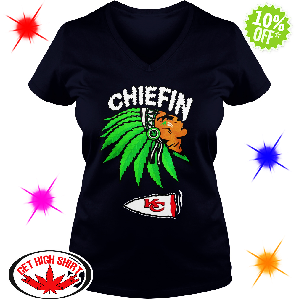 Kansas City Chiefs chiefin Weed Smoke v-neck