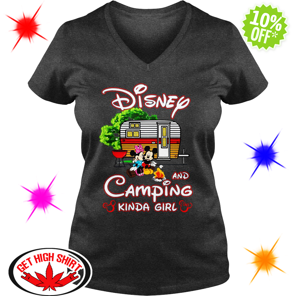 Mickey And Minnie Disney and camping kinda girl v-neck