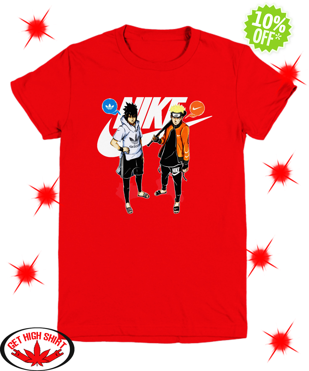 Naruto and Sasuke Nike Adidas youth tee