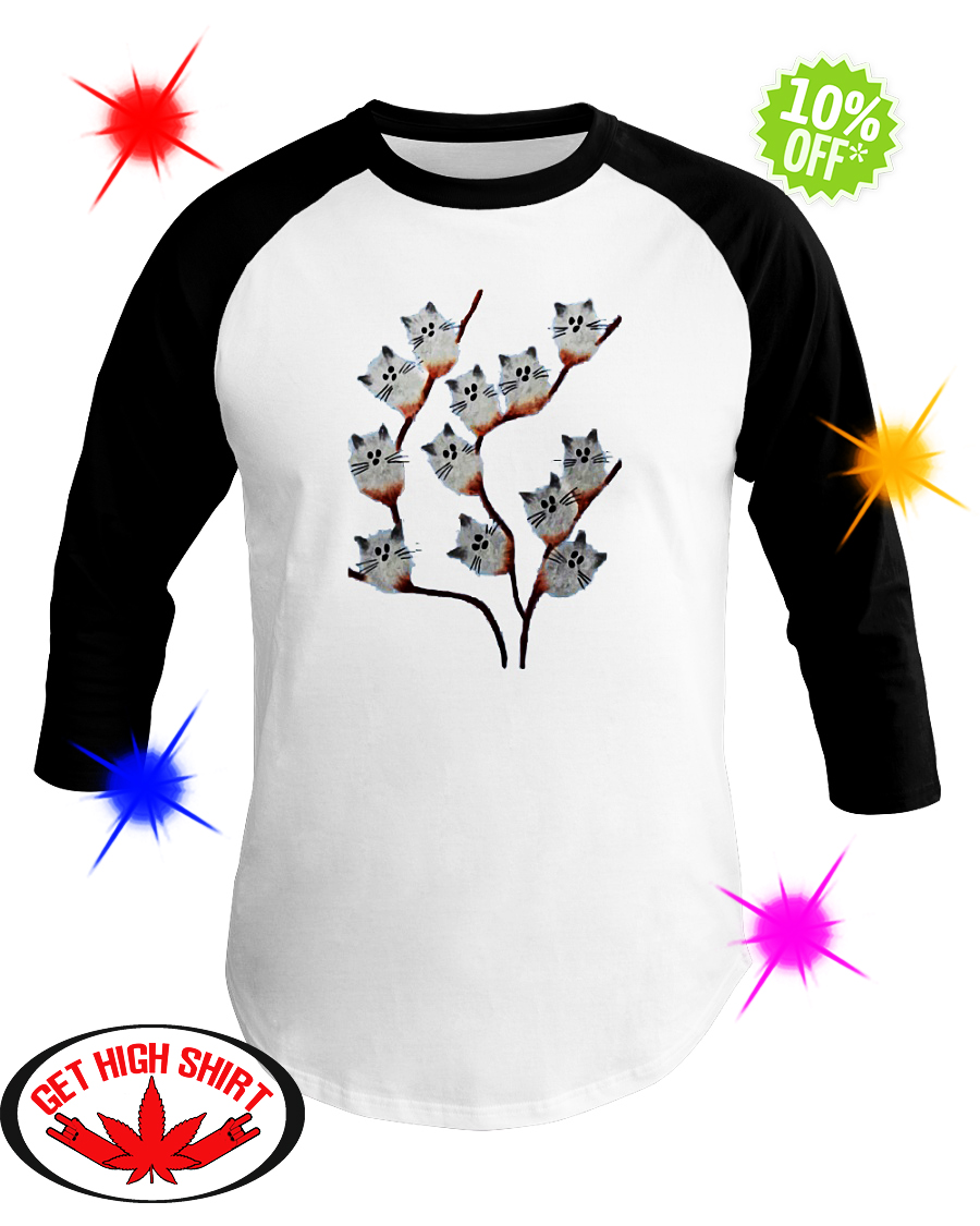 Pussy willow Cat baseball tee