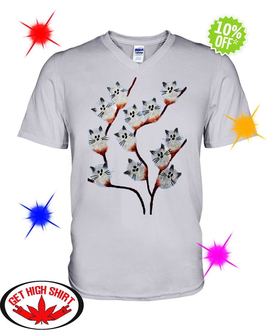 Pussy willow Cat v-neck