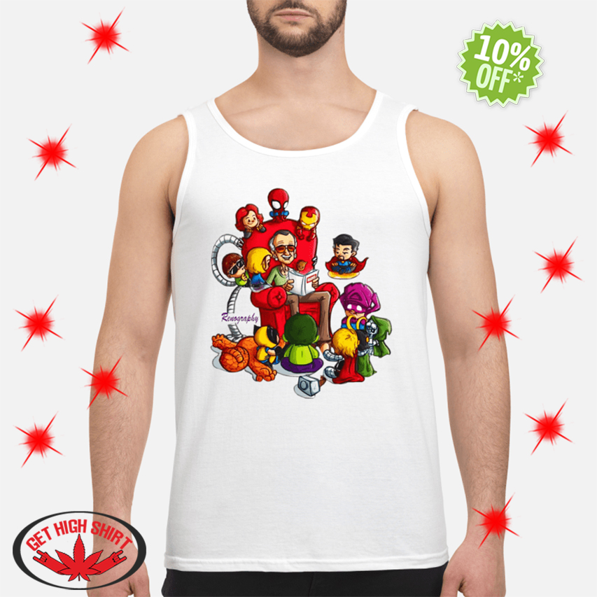 Stan Lee Marvel and Superhero Renography tank top