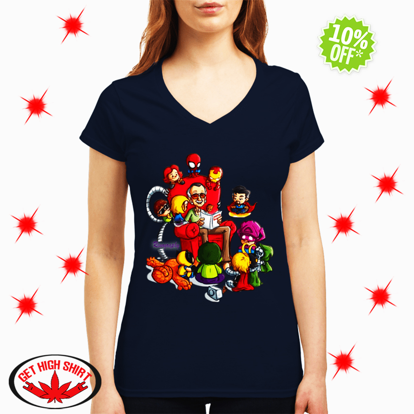 Stan Lee Marvel and Superhero Renography v-neck