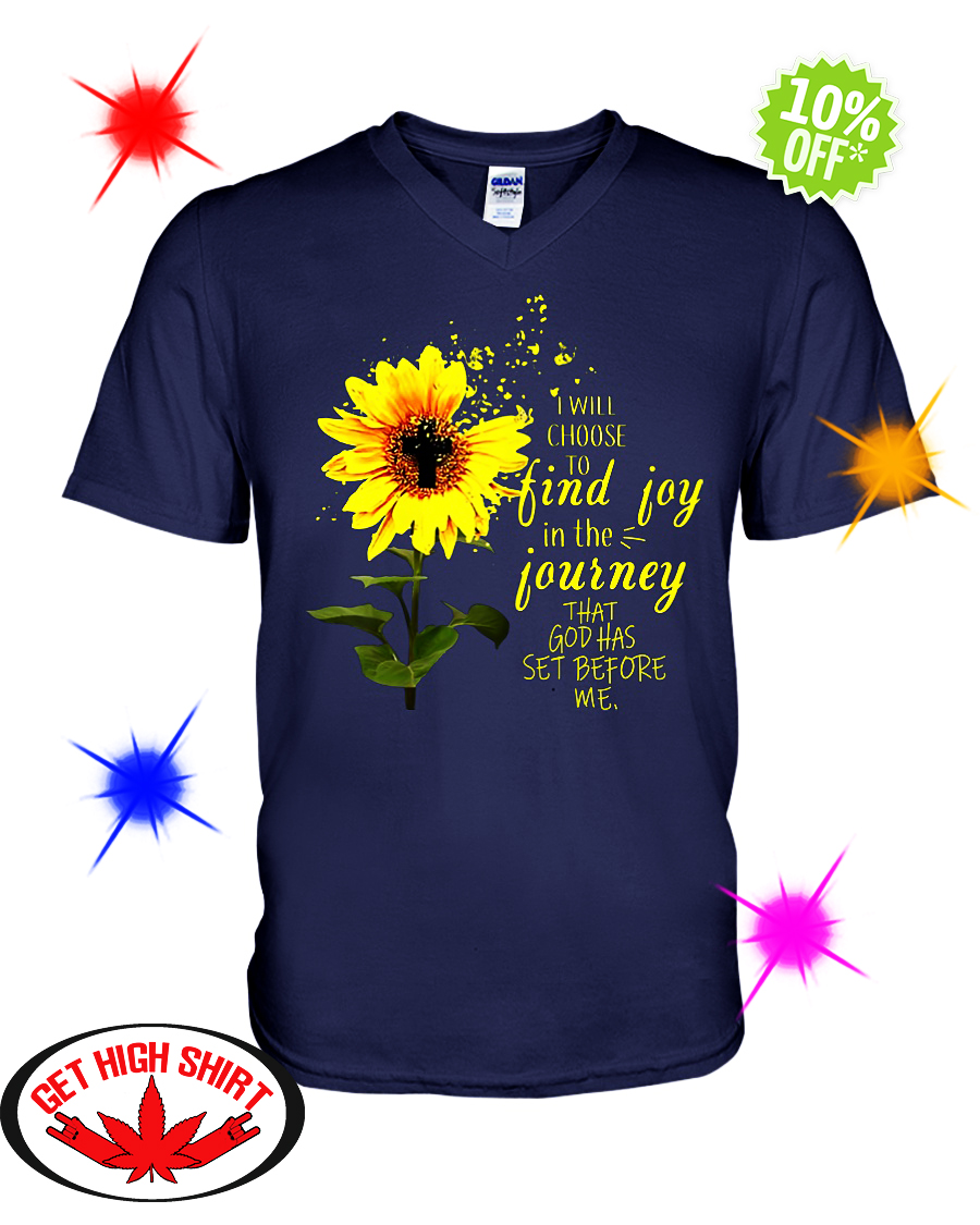 Sunflower cross I will choose to find joy in the journey that God has set before me v-neck
