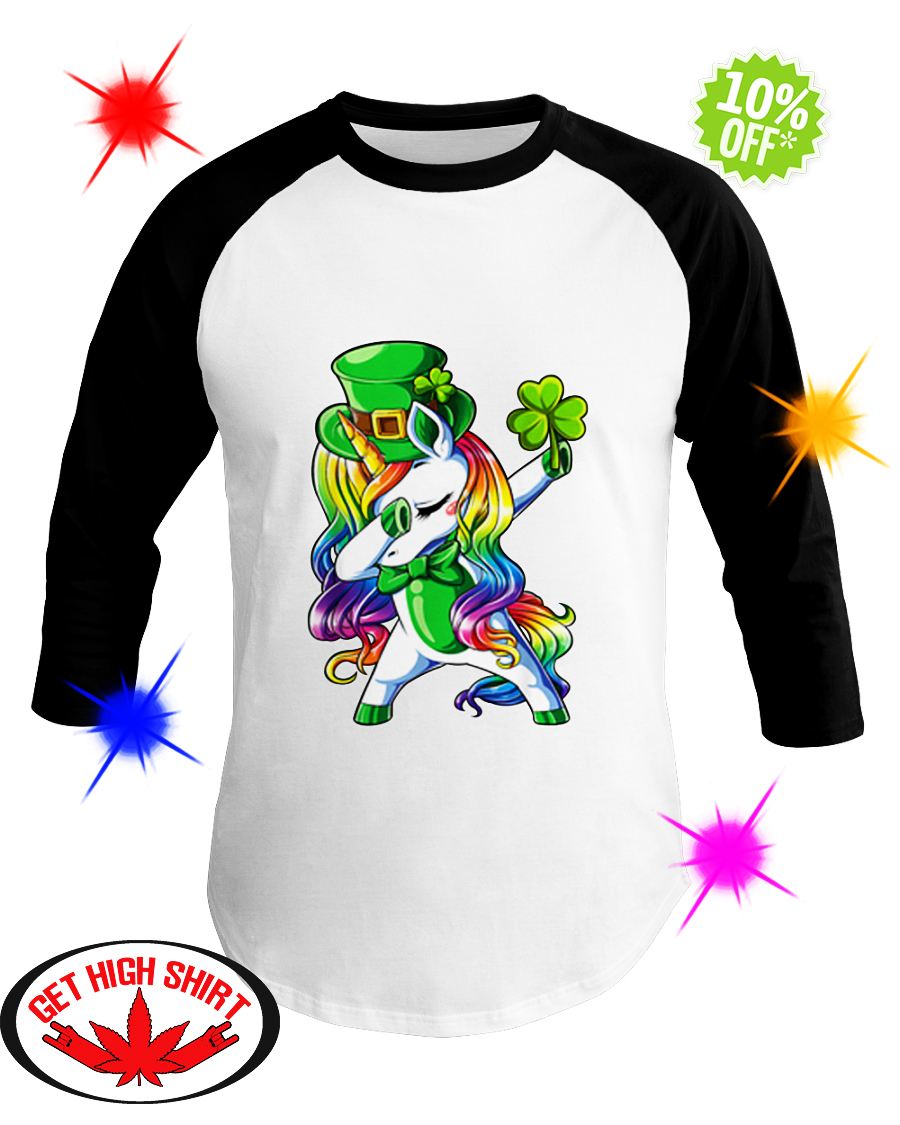 Unicorn dabbing irish shamrock baseball tee