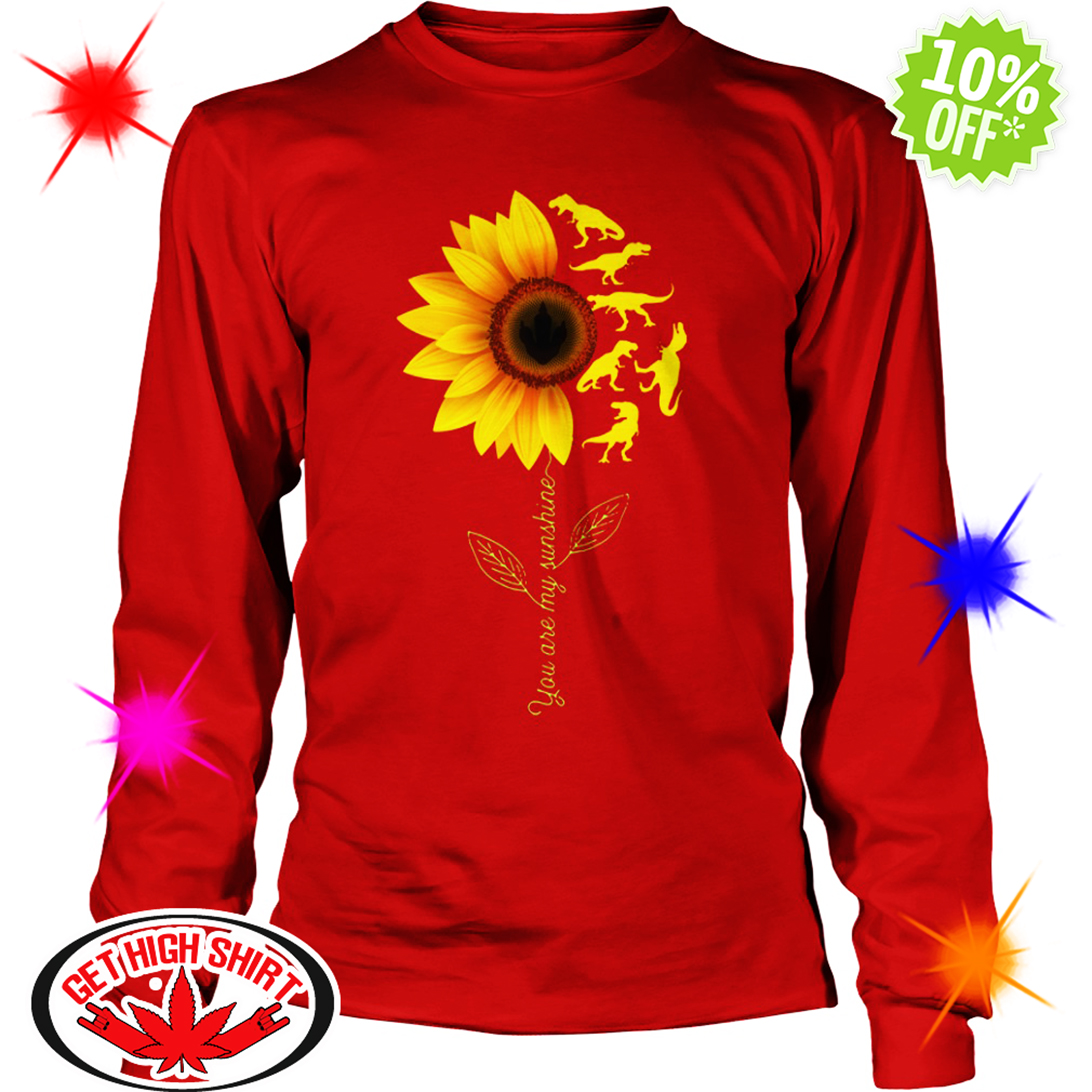 You're My Sunshine Sunflower Dinosaur T-rex long sleeve tee