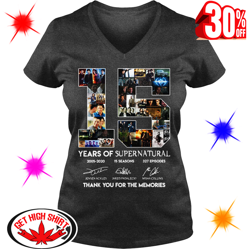 15 Years Of Supernatural 2005 2020 15 Seasons 327 EpisodesThank You For The Memories v-neck