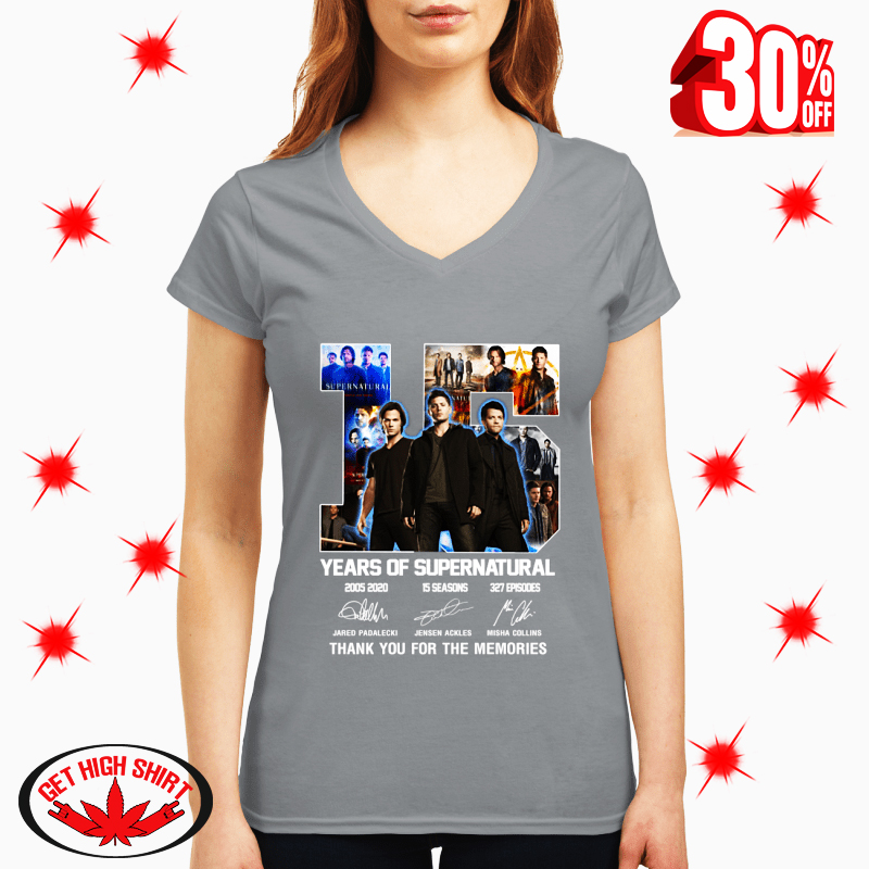 15 Years Of Supernatural Thank You For The Memories Signature v-neck