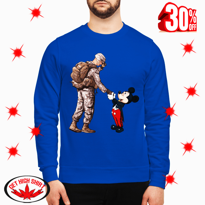 (NEW) Army Soldier and Mickey Mouse Shaking Hands shirt