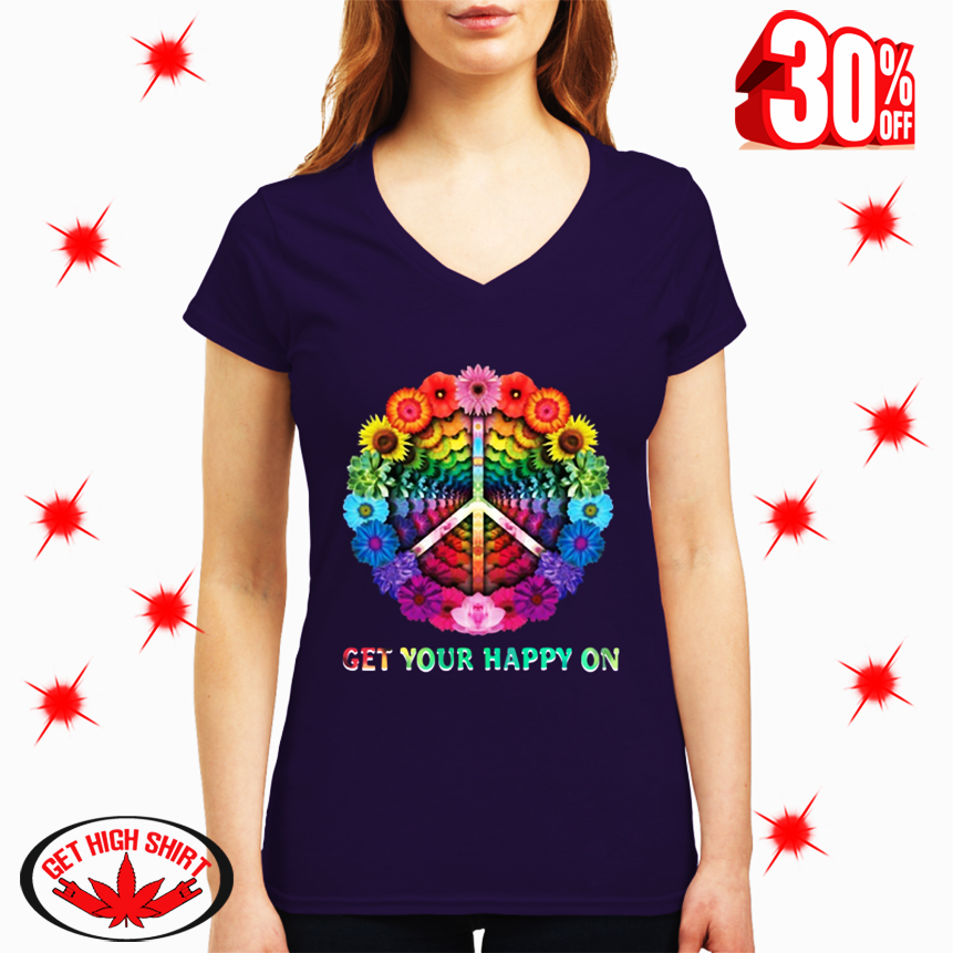Hippie Flowers Get Your Happy On v-neck