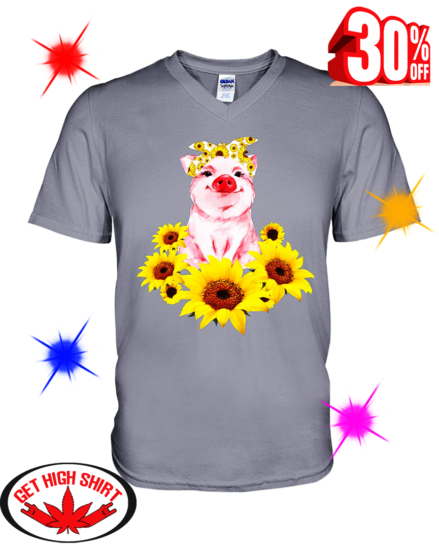 Pig with Sunflower v-neck