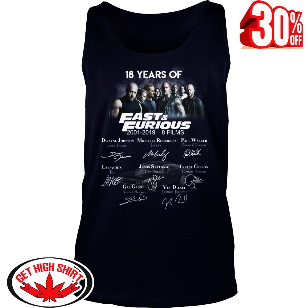 18 years of Fast and Furious Author Signatures tank top