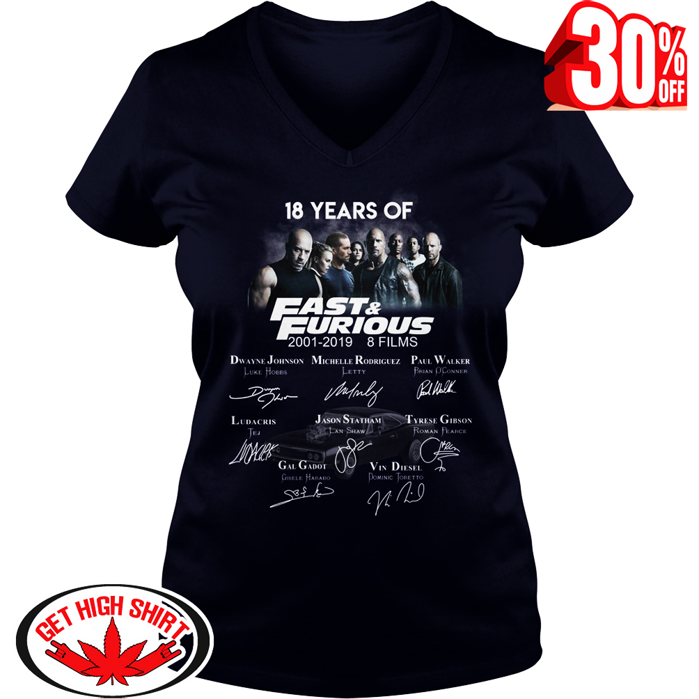 18 years of Fast and Furious Author Signatures v-neck