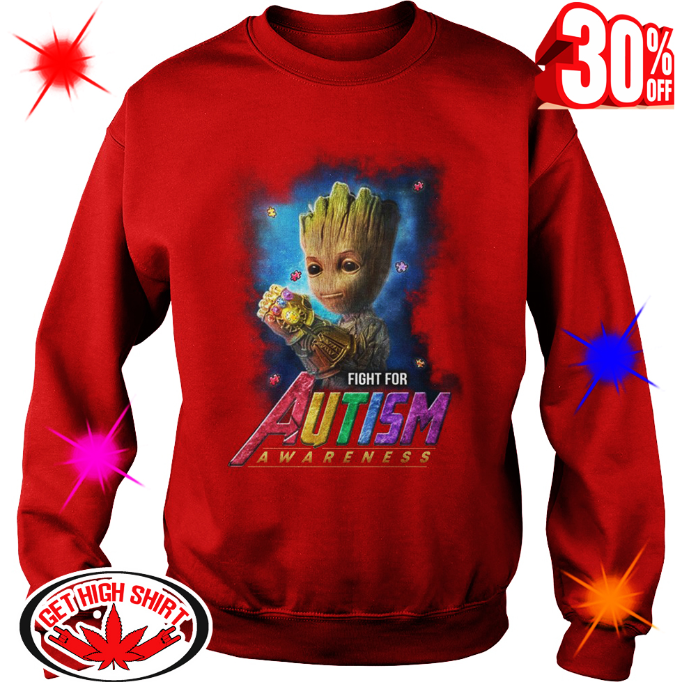 Cute Baby Groot Fight For Autism Awareness Shirt Tank Top