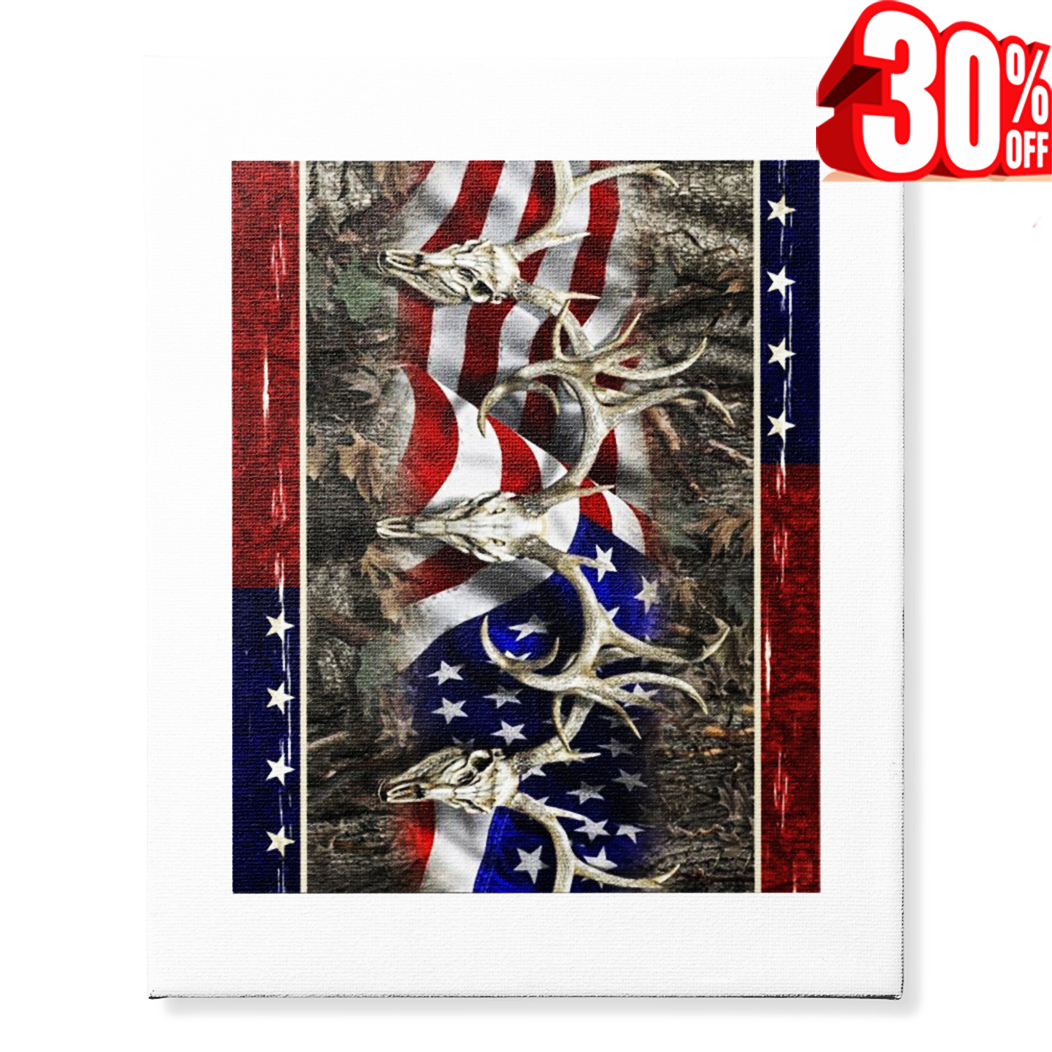 Deer Hunting 4th of July canvas 16x20