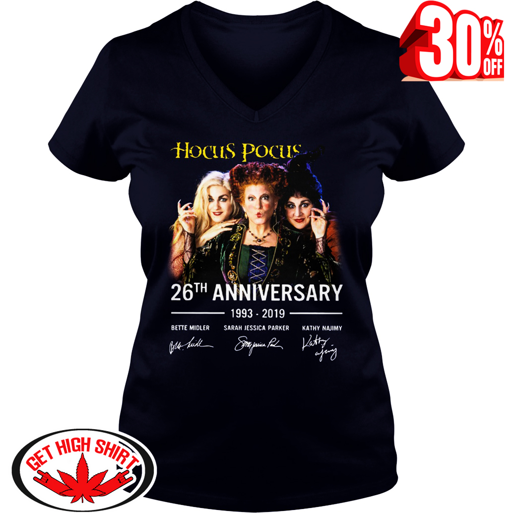 Hocus Pocus 26th anniversary 1993-2019 signature v-neck