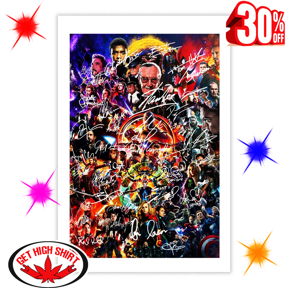 Nice – Stan Lee and Avengers Endgame Characters Signature Poster