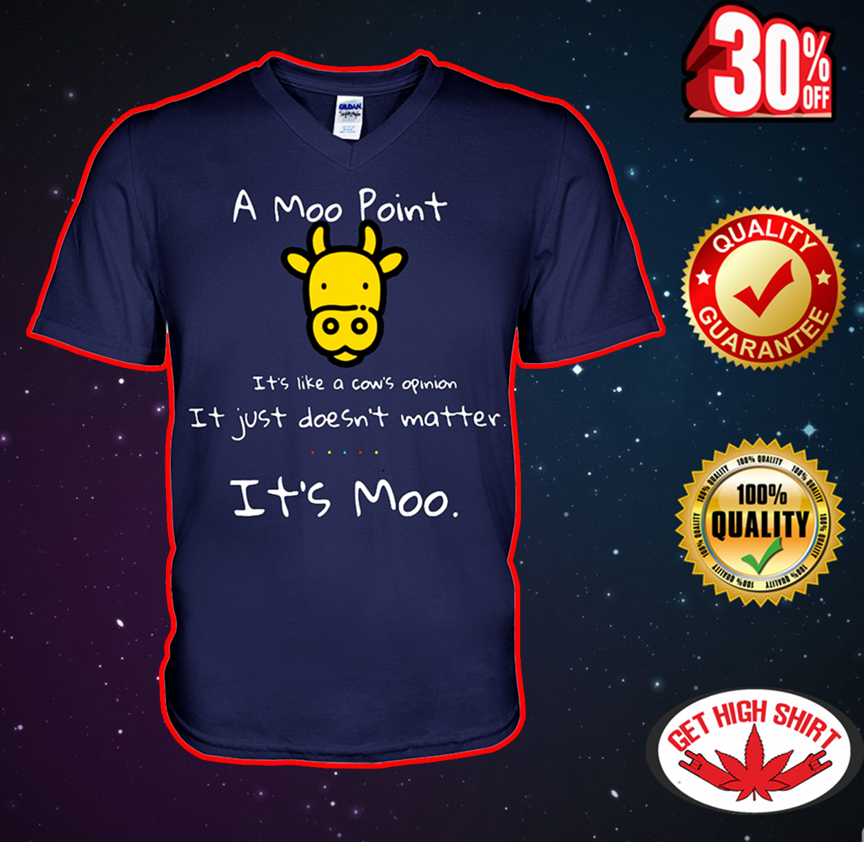 A moo point it's like a cow's opinion it just doesn't matter it's moo v-neck