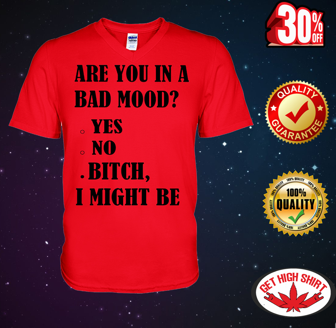 Are you in a bad mood bitch I might be v-neck t-shirt