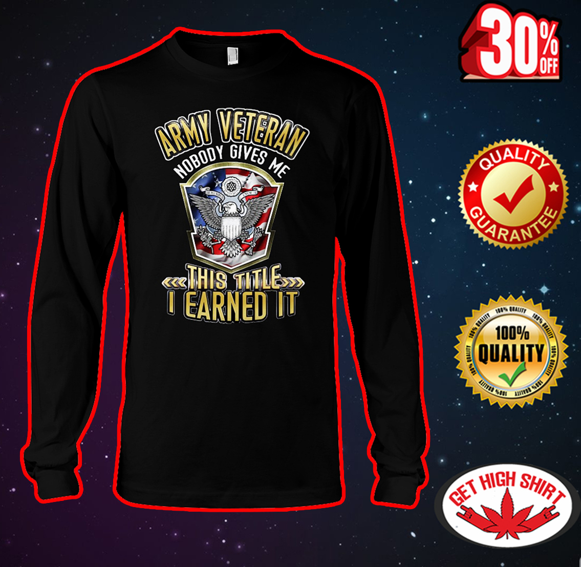 Army veteran nobody gives me this title I earned it long sleeve tee