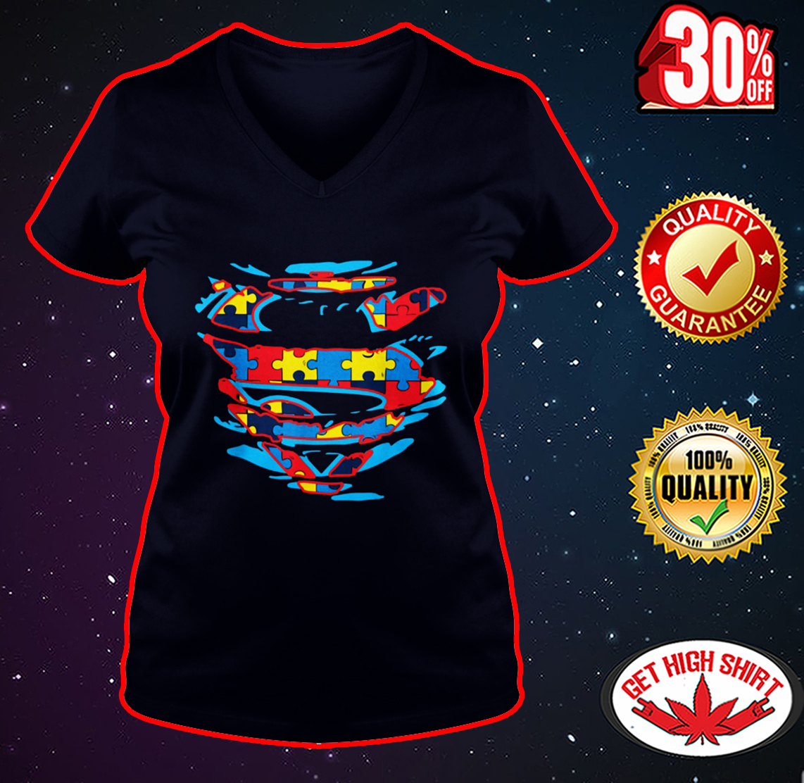 Autism Superman v-neck