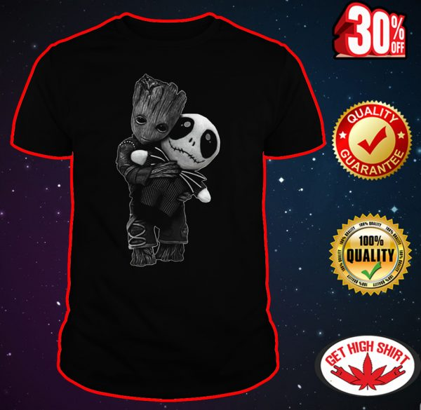 Baby Groot hug Jack Skellington shirt